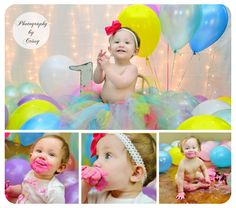 Balloon 1st birthday and smash cake photography/photo shoot for little girl.  (thank you to @Julie Daye the Moon for free collage layout)