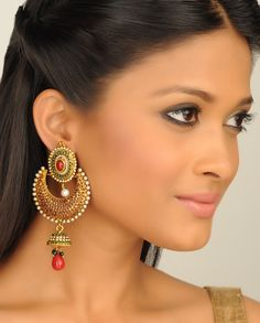 Crescent Shaped Earrings with Stones
