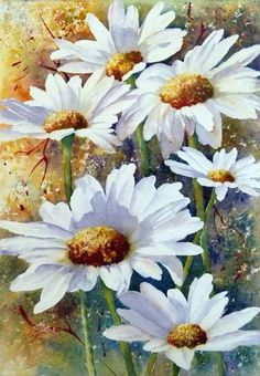 Honey I'm Crazy for Daisy☆ Art Floral, Watercolour Painting, Watercolor Flowers, Painting & Drawing, Watercolors, Painting Inspiration, Art Pictures, Flower Art, Drawings