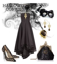 """""""Halloween Black"""" by menchu10 ❤ liked on Polyvore featuring Allison Parris, Masquerade, Harrison Morgan, NEXTE Jewelry and Jimmy Choo"""