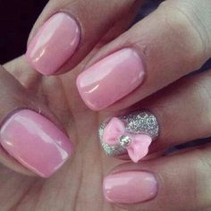 love the bow ... but black tips with a line under with that color pink and then just that one bow on each ring finger :)