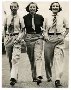Androgyny was popular in the 1940s. Since sources were scarce because of the war, women used fabric and clothes as the men.