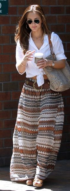 Printed maxi + white button down+ coffee +shades...sounds lyk my kinda girl!