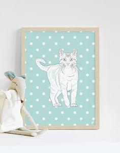 Plakat 30x40cm - kot amerykański - Follygraph - Obrazki dla dzieci