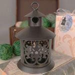 """""""LED  Heart"""" Black Steel Lantern w/ Heart and LED Lighted Candle"""