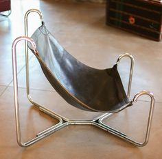 Gianni Pareschi and Ezio Didone; Chromed Tubular metal and Leather 'Baffo' Chair for Busnelli, 1969.