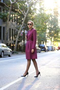 purple coat with classic shoes