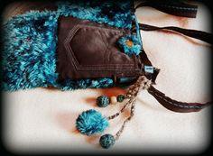 Handmade by Judy Majoros- Turquoise-black faux fur Bag Fur Bag, Faux Fur, Turquoise, Wallet, Chain, Handmade, Bags, Fashion, Handbags