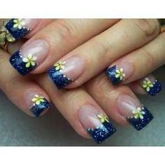 Cool Acrylic Nail Designs With Flowers And Blue, cool nail designs for short nails, cool nail designs at home ~ Cool Nail Art Ideas Fingernail Designs, Blue Nail Designs, Nail Designs Spring, Nail Polish Designs, Acrylic Nail Designs, Acrylic Nails, Gel Nails, Toenails, Nails Design