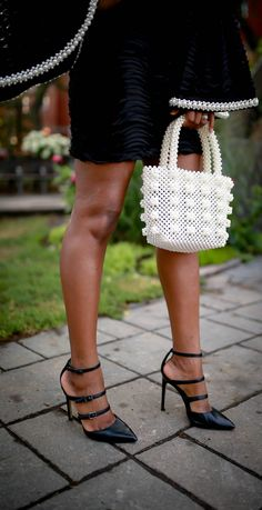 Designer-inspired pearl tote paired with a sweet and sassy little black dress for women perfect for cocktails, holiday parties, weddings, and other special events. Fringe Booties, Lace Up Booties, Ankle Booties, Fall Shoes, Winter Shoes, Cute Pedicures, Black Lace Midi Dress, Black Cocktail Dress, Trendy Shoes