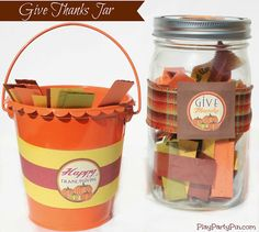 Give Thanks Jar with Free Printables from playpartypin.com #Thanksgiving #crafts