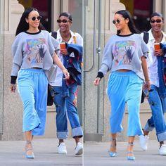 Rihanna Maison Margiela one sleeve graphic sweatshirt and blue side stripe…