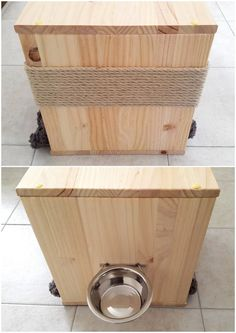 3 in 1: Cat Bed Feeder Scratcher made of recycled wood by PinkBau