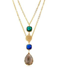 Indulges Two Tier Labradorite, Emerald Green and Royal Blue Necklace  Buymereadme.com