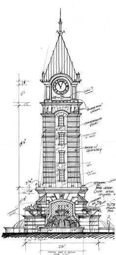 Clock tower at Levis Commons.  Perrysburg Ohio.  Elevation sketch  2006