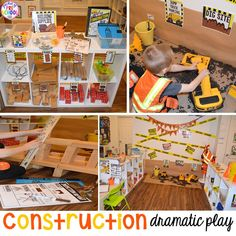 How to set up a Construction Site Dramatic Play! With all the printables you need to embed STEM, math, and literacy into your preschool, pre-k, and kinder kiddos play. Real classroom photographs too!