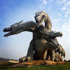 Three-headed dragon at  Kudykin Mountain Family Park, Kamenka, Lipetsk, Russia