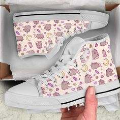 Pusheen Cat High Top Shoes - Low Top Shoes - Cameow™ - Source by kimsophiedaebel - Kawaii Shoes, Kawaii Clothes, Pastel Fashion, Kawaii Fashion, Gato Pusheen, Cat Shoes, Painted Shoes, Girls Shoes, Me Too Shoes