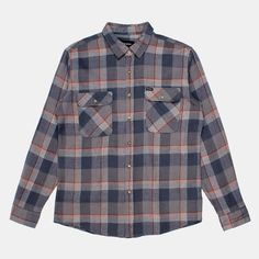 Brixton Bowery Long Sleeve Flannel Shirt - Blue