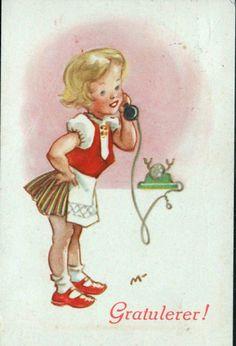 Gratulasjonskort MAURITZ-HANSEN, IVAR. Jente prater i telefonen. Mittet brukt 1943
