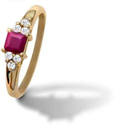 Carat Total Weight Round Diamond with 4 Millimeter Carat Square Cut Ruby Set in Yellow Gold. Jewellery Box, Jewelry Shop, Jewelry Stores, Jewlery, Gold Style, My Style, Pink Sparkly, Pretty Rings, Pink Stone