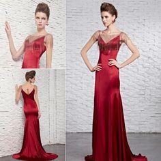 Beading column sheath prom dress wine red silk long evening dress