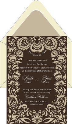 Mocha Luscious Lacing  – Wedding Invitation