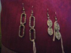 Pendientes confeccionados con abalorios y fornituras de zamack