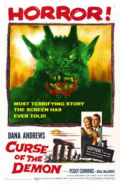 """Movie poster, """"Curse of the Demon"""" Dana Andrews"""