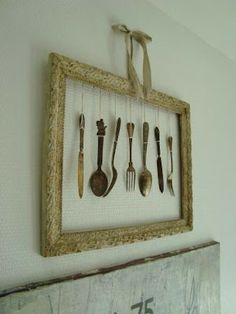 a few pretty things: Cutlery for decoration - Best DIY Dekoration Decor, Restaurant Decor, Farmhouse Decor, Silverware Art, Vintage Kitchen Utensils, Bakery Decor, Cutlery Art, Kitchen Wall Decor, Frame Shabby