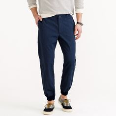 Jogger pant in mélange cotton : jogger | J.Crew  Made with a mélange (multiple yarns of different gauges) chino fabric and finished with a vintage-inspired Hollywood waistband and ribbed cuffs, these pants are the more interesting and more comfortable alternative to your chinos and jeans.