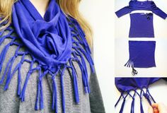super quick conversion from old t-shirt to new scarf