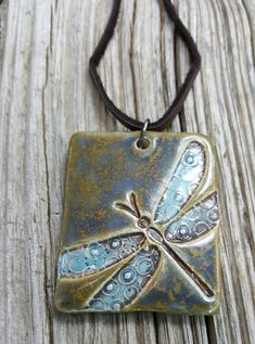 Ceramic Pendant Dragonfly Pottery pendant leather cord by MudHutt