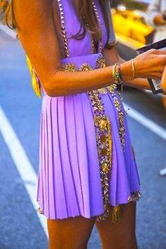 bright purple embellished dress