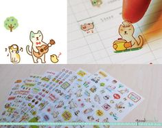 Cute Cat Diary Sticker Set   6 Sheets 200 Pieces  by GoodiMochi, $3.80