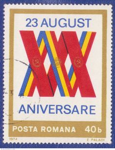 A Romanian stamp from 1974 commemorating the anniversary of the Liberation of Romania on August Stamp Collecting, Logos, 30th Anniversary, Stamps, Collection, World, Seals, Logo, Postage Stamps