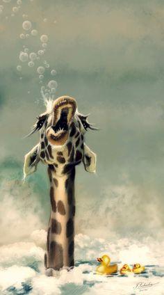 giraffes want rubber duckies in their baths too❣️