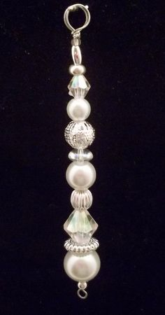 Icicle Ornament White Pearl and Silver by SnowflakeStudio59