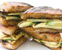 Grilled gruyere and zucchini sandwiches with smokypesto
