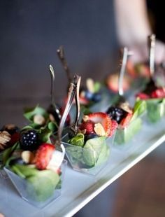 individual servings of salad with berries