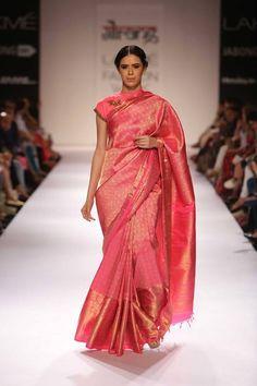 Full pink saree. Love it.