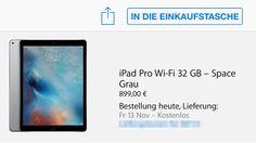 """Los gehts: iPad Pro bestellen im Apple Store, 900 Euro für günstigstes iPad Pro Modell - https://apfeleimer.de/2015/11/ipad-pro-bestellen-apple-store-guenstigstes - ENDLICH: Apple iPad Pro kann bestellt werden. Der Start der Bestellung des neuen iPad Pro im Apple Online Store ist vollbracht – ab sofort kann das neue, große iPad Pro mit 12,9 Zoll Display, das Apple in drei Wörtern mit """"Dünn. Leicht. Gigantisch."""" beschreibt, in drei Modellen ..."""