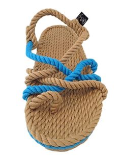 toe joe rope sandal in camel and neon blue color