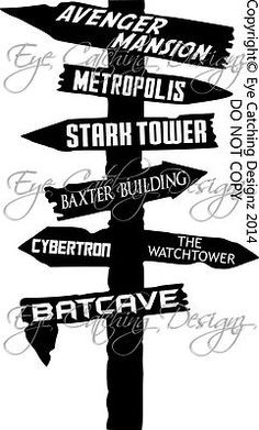 Superhero Super Hero Road Sign Avengers Batman Ironman Bedding Wall Decal Art