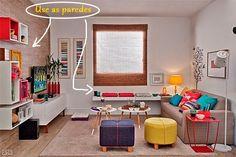 Principalmente em ambientes pequenos, prateleiras, nichos, instalar móveis ou bancos presos às paredes, aumentam bastante o espaço útil.