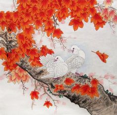 original chinese traditional painting lovely pigeons with maple leaves