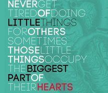 Never get tired of going little things for others <3
