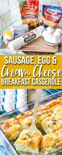 Perfect for brunch! Perfect for brunch! The BEST breakfast casserole we have had! Packed with sausage eggs and cream cheese it has all of the delicious flavors but is so easy to make. Perfect for Easter Christmas morning or a brunch get together! Cream Cheese Breakfast, Breakfast And Brunch, Best Breakfast Casserole, Breakfast Items, Breakfast Dishes, Sausage Breakfast, Breakfast Casseroles With Hashbrowns, Brunch Casserole, Best Breakfast Recipes