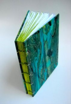 Green Marbled Journal by TheAlteredDiaries on Zibbet