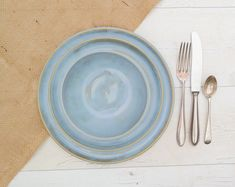 Handthrown Stoneware Dinnerset in Calm Seas Blue Glaze